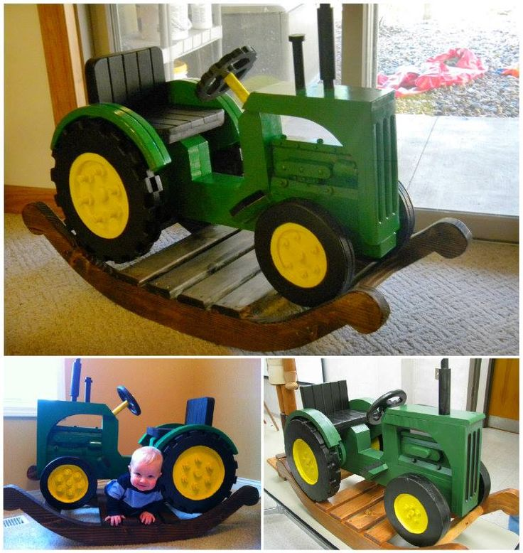 John Deere Rocking Tractor				 				  				 This fantastic John Deere Rocking Tractor is sure to put a big smile on any little one's dial! It's a great DIY project that you'll enjoy and will give the kids hours of fun. Picture source: 'Grandpa Charlie's Workshop.'  John Deere Rocker Plans    John Deere Tractor Bunk Bed Tutorial