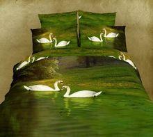 3d yeşil kuğu gölü aqua su yatak yorgan seti kral kraliçe yatak örtüsü çarşaf yorgan nevresim yatak bir çanta 100% pamuk(China (Mainland))