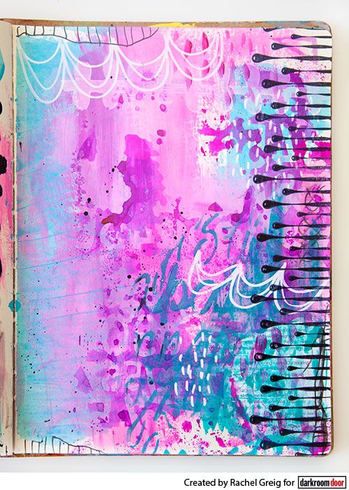 Art journal background by Rachel Greig using Darkroom Door Paint Drips Eclectic Stamp