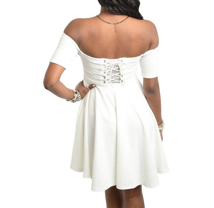 $35 Off Shoulder Skater Dress in Ivory