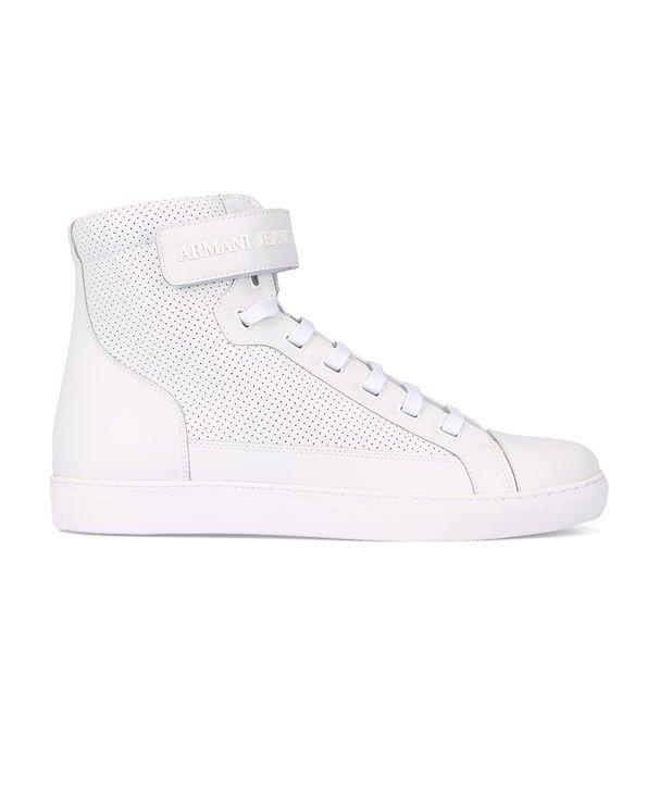 Sneakers Hautes Scratch Cuir Perforé Logo AJ Blanches ARMANI JEANS