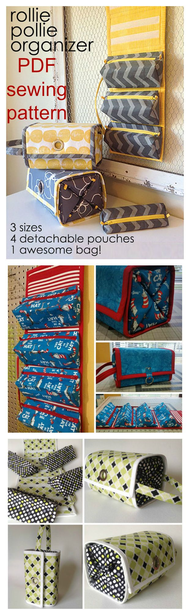 Downloadable pdf sewing pattern for The Rollie Pollie Organizer.