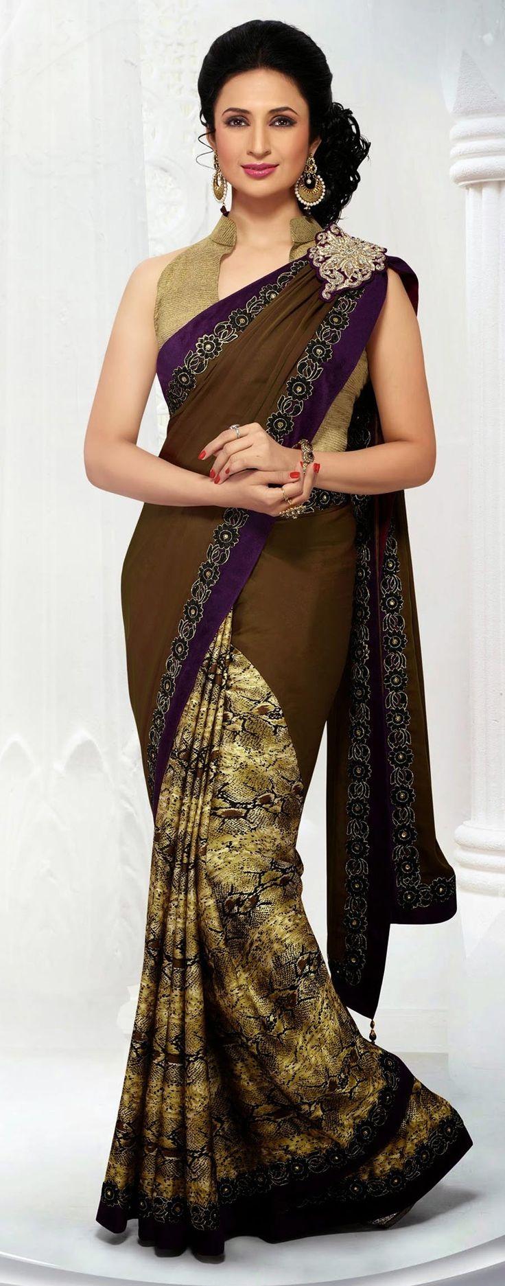 Beige & Brown Half Half Saree In Satin . Shop at - http://www.gravity-fashion.com/beige-brown-half-half-saree-in-satin-gf9140110.html