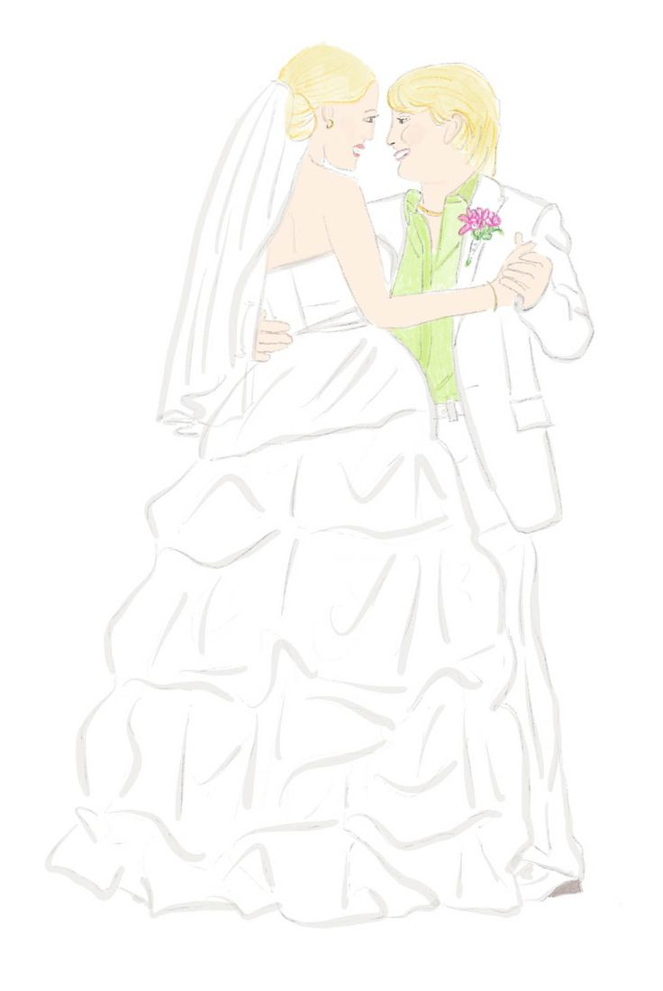 Valentine's Day gifts for everyone Commemorate your wedding, family or home with a custom illustration. Perfect for framing and hanging, brightening your screen saver and sharing all over social media. We love this custom drawing of Equally Wed founders Kirsten and Maria Palladino's wedding.  $55 from Eliza Gwendalyn  lesbian wedding, LGBTQ wedding, art, gifts, presents, anniversary, illustration