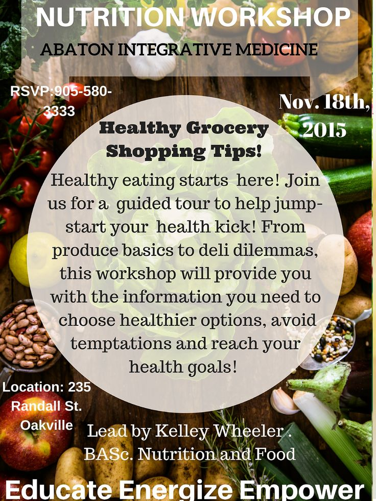 "Hello Friends! My name is Kelleygene and I am very passionate about sharing my love and dedication to eating and living a healthy lifestyle. I offer MANY complimentary nutrition workshops in Toronto & the GTA.  Check out my website & register for your favourite nutrition topic!    ...""Healthy Grocery Shopping Tips"" Workshop!  Where: 235 Randall Street, Oakville ON L6J 1P5 When: Wednesday, November 18th @ 6:30-8:00 pm"