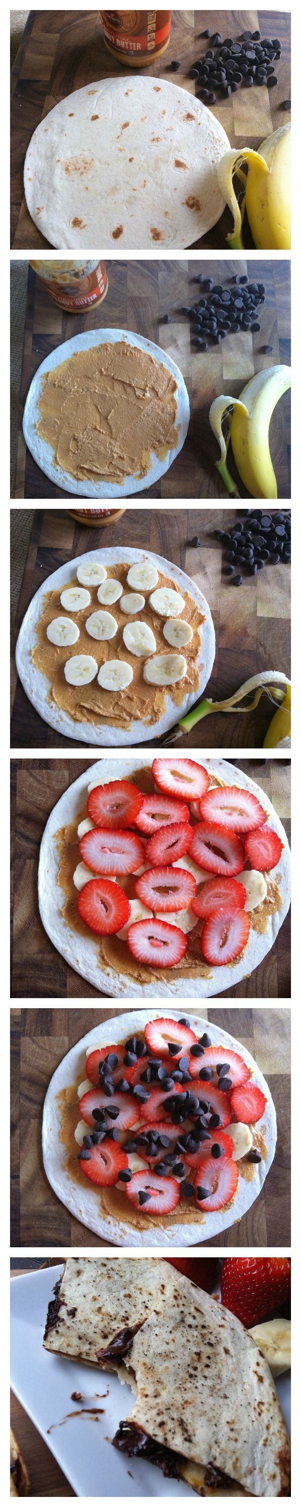 Dessert Quesadilla--peanut butter, banana, strawberries & chocolate with a crispy cinnamon and sugar tortilla