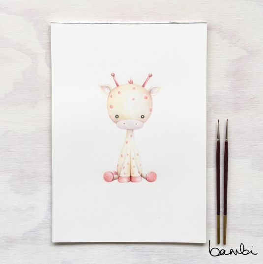 This giraffe can be spotted in a nursery, alongside a little unicorn and elephant. This little guy is a lovely, gentle addition to children's bedrooms, complemented by shades of gold, white and a pop of pastel.