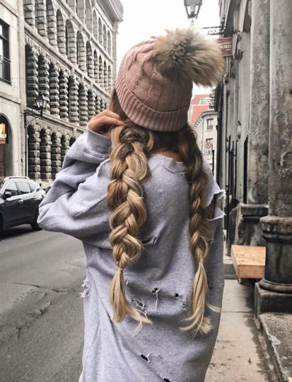 ♡ On Pinterest @ kitkatlovekesha ♡ ♡ Pin: Beauty ~ Dirty Blonde Dutch Braid Pigtails with Brown Beanie ♡