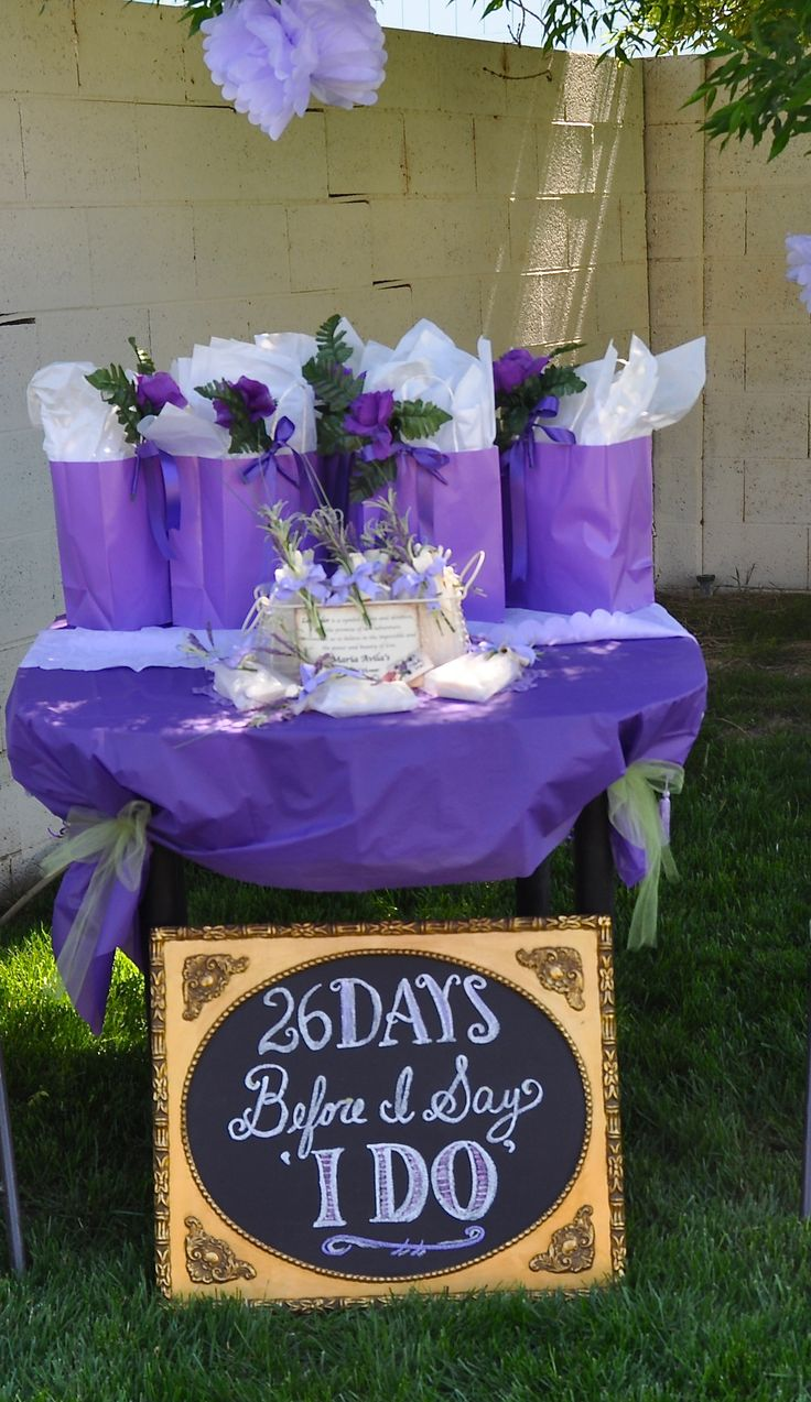Purple Bridal Shower prizes and favors