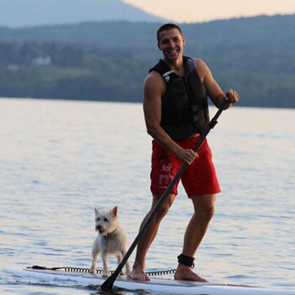 """Newest member of the Edmonton Oilers David Perron @ DP_57 tweeted this sport photo with his dog:  """"Trying to acquire some new skills! Thanks to Jack for the support! :) #summertime #dogsaremansbestfriends"""""""