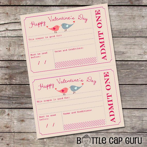 Printable Valentine's Day Coupons / Valentines Day Gift for Him, Her, Kids / Romantic Love Vouchers / Printable Coupons