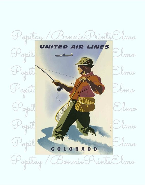 Colorado Travel Poster Fly Fishing Poster by BonniePrintsElmo