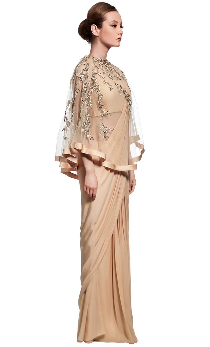 Draped champagne saree gown and cape