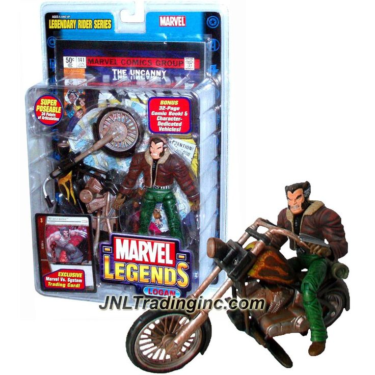 Toy Biz Year 2005 Marvel Legends Legendary Rider Series Super Poseable 6 Inch Tall Action Figure - LOGAN (in Brown Jacket and Green Pants) with 34 Points of Articulation, Wolverine Motorcycle, Trading Card Plus Bonus 32 Page Comic Book