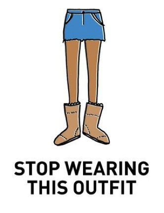 Please stop...you look ridiculous!!!! yes, either its so cold you need fluffy boots or so hot you need a skirt...it is not both!