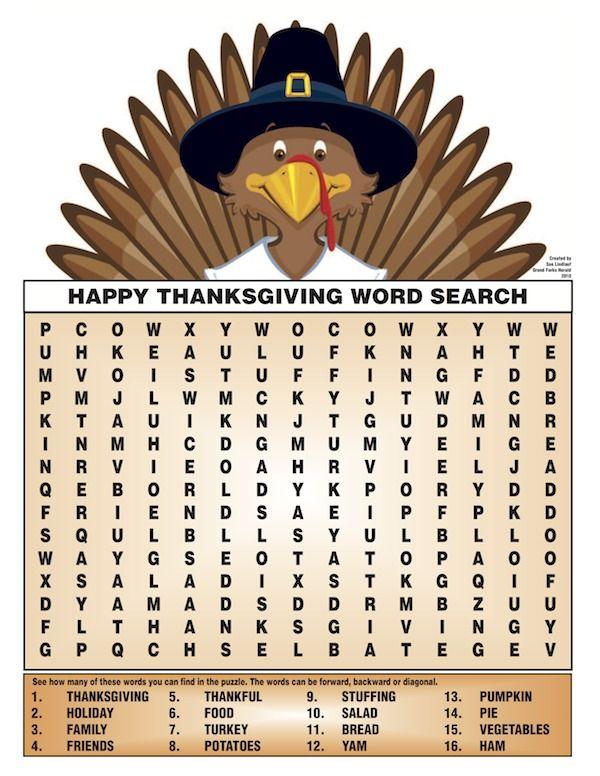 Free Kids Thanksgiving Printables