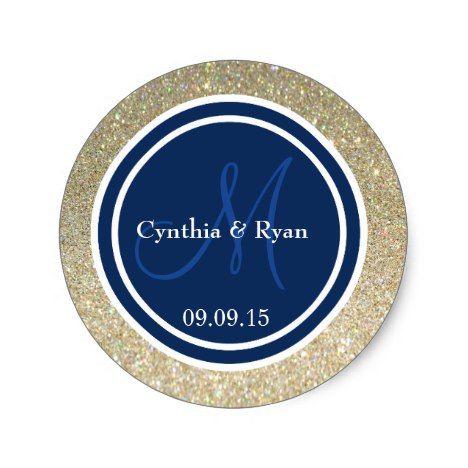 Gold Glitter & Dark Navy Blue Wedding Monogram Classic Round Sticker #wedding #craft #supplies