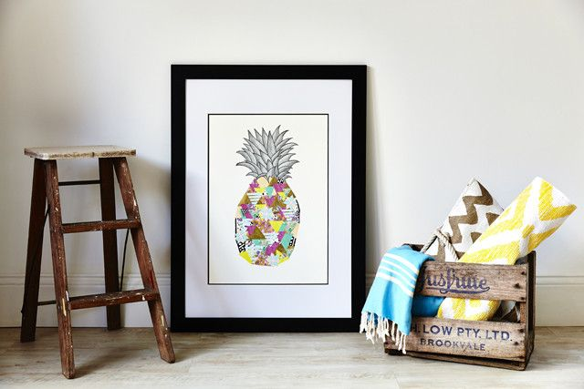 Amelia Lane Paper Palm Beach Pineapple Print