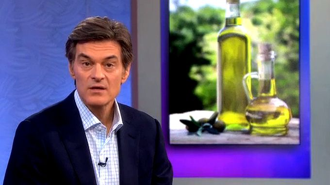 """In the test, Dr. Oz puts a bottle of EVOO in the refrigerator. If it freezes at a normal refrigerator temperature, """"then you're pretty sure it's pure,"""" said Oz."""