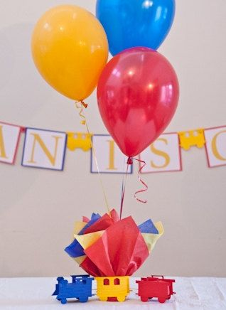 Train Baby Shower - Balloon Centerpieces with Personalized Train Confetti Table Decorations - Choice of Colorss