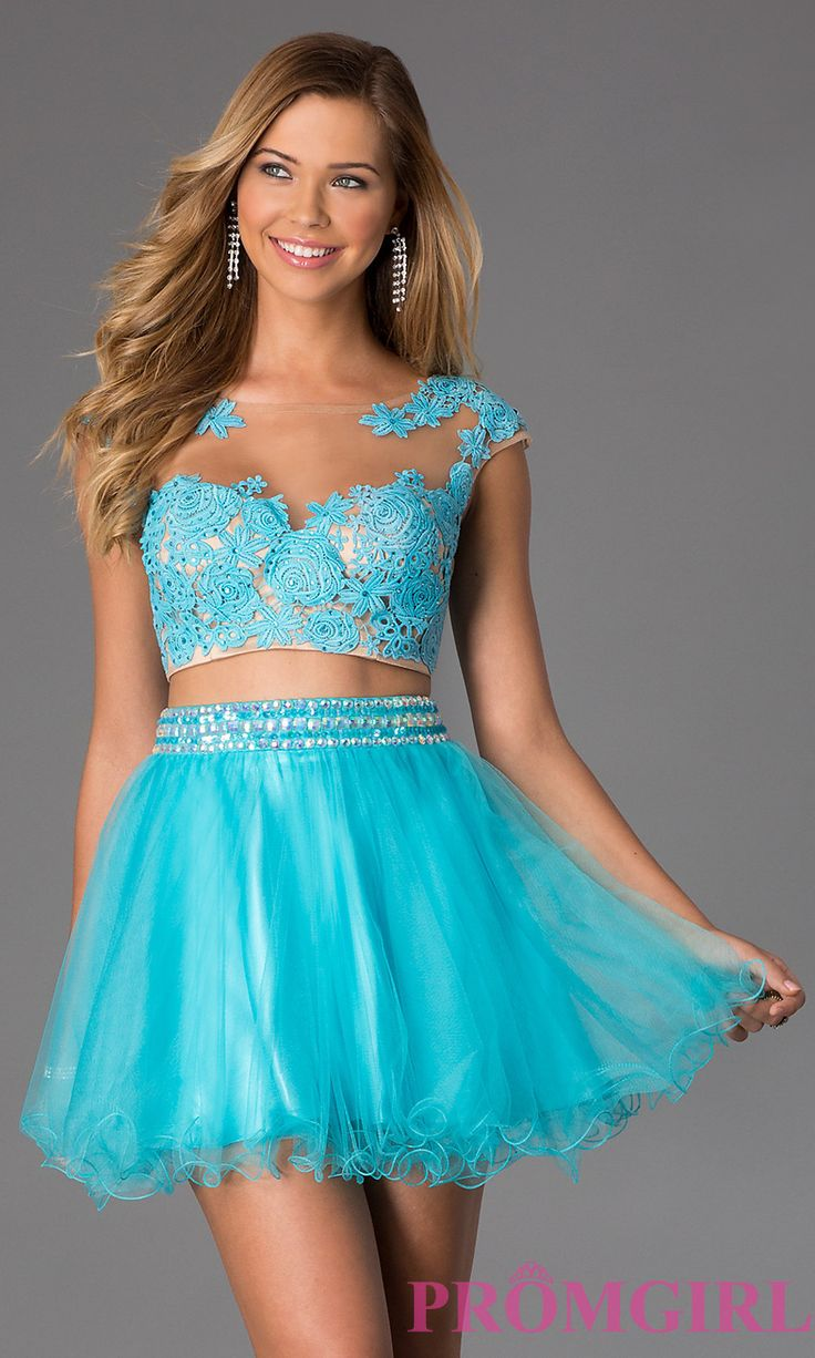 Prom Dresses, Celebrity Dresses, Sexy Evening Gowns - PromGirl: Two Piece Short Lace Embellished Dress by Dave and Johnny