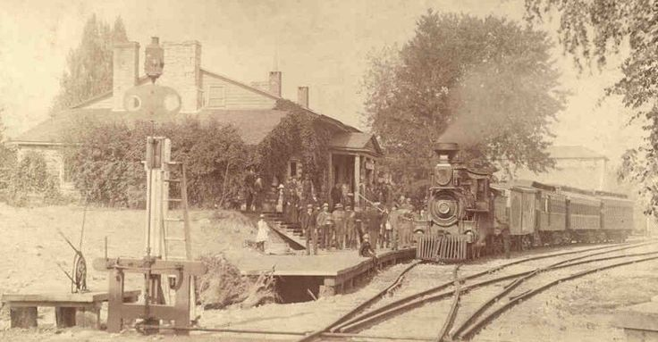 The old Canadian Pacific Priory station, on the Guelph Junction Railway. This building was the first permanent building in Guelph, and served for several years as the CPR station. This photo shows the priory in use as the station, sometime during the 19th century. This is now the site of the River Run Centre.