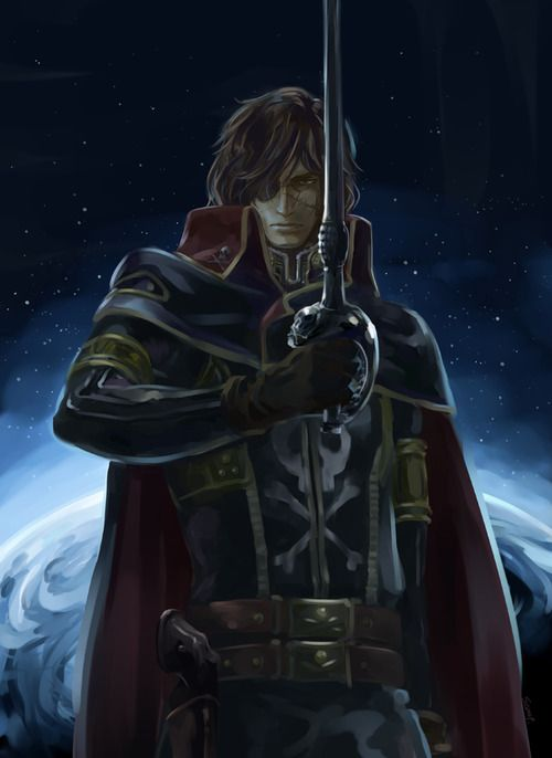 CAPTAIN ||| Captain Harlock Fan Art by Esterhazy. Strong candidate for coolest pirate in fiction. HIS SWORD IS A GUN. Enough said.