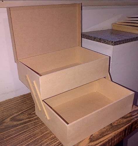 caja doble grande costurero maquillaje para decorar y pintar                                                                                                                                                      Más