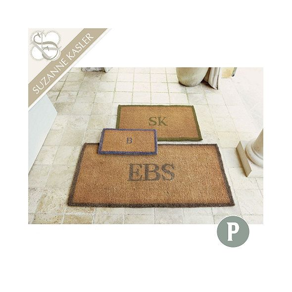 Suzanne Kasler Bordered Initial Coir Mat Personalized