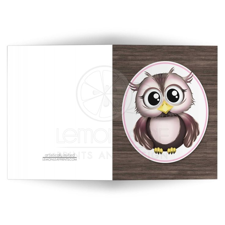 wedding shower thank you note for gift card%0A Note Cards  Owl Pink with Brown Rustic Wood  Baby Shower Thank YouCartoon