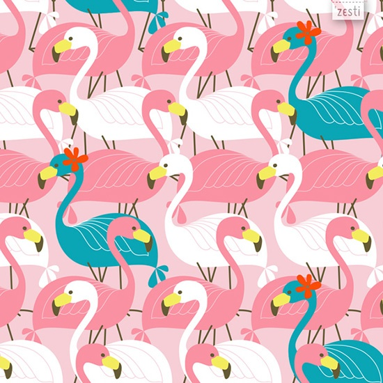 Pink Flamingos - part of my Pink Flamingo Collection, designed for my #365patterns #52collections challenge ©Ine Beerten - 2013