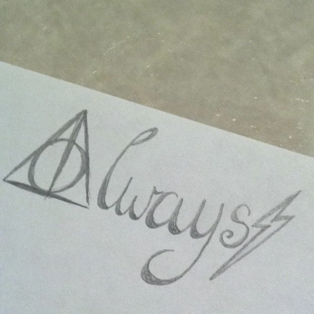 """""""Always"""" tattoo I just drew up. Getting this for sure! On my shoulder maybe? Or foot? What do you think? Harry Potter. Always. Deathly Hallows. Lightening bolt scar."""