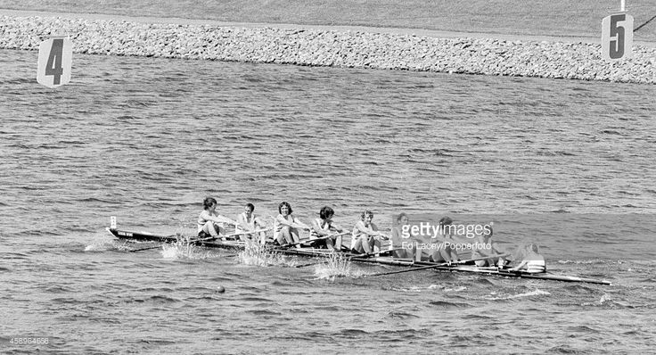 The silver medallists from Great Britain in the rowing eights during the Summer Olympic Games in Montreal, circa July 1976. The team included Richard Lester, John Yallop, Timothy Crooks, Hugh Matheson, David Maxwell, James Clark, Frederick Smallbone, Leonard Robertson and coxswain Patrick Sweeney.
