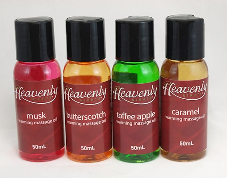 Heavenly Nights Candy Warming Massage Oil for Sale  Flavours: Musk, Butterscotch, Toffee Apple, Caramel  Features:  Edible  Oil based  Can be used as a lubricant  50 mL each (1.7 Oz)  Scented  Warming     The Heavenly Nights Candy Warming Massage Oil is the perfect addition