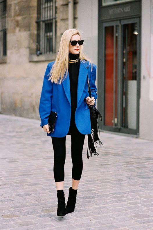 trail blazer. #JoannaHillman working oversized cobalt in Paris. #VanessaJackman