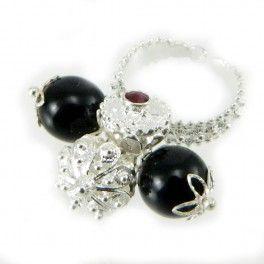 Anello fede Sardegna argento brunito 2 Su Coccu e 2 bottoni e cristallo
