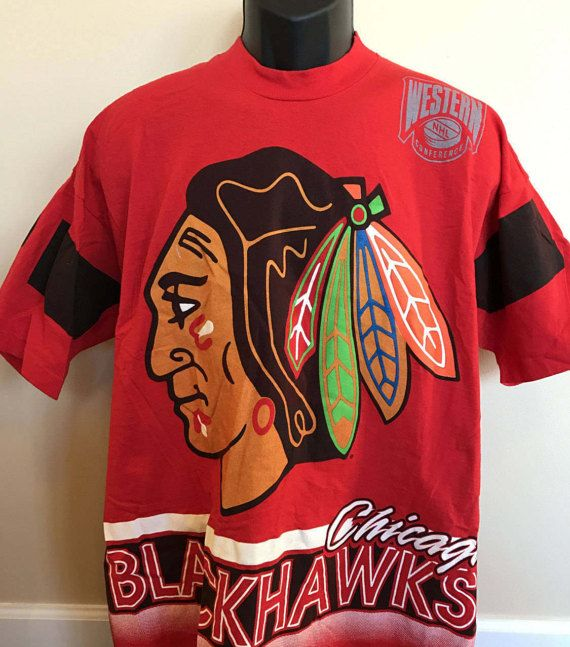 90s Chicago Blackhawks NHL Tee Shirt Vintage Ice Hockey Jersey Western Conference Stanley Cup Playoffs XLarge Salem Sportswear Made in USA