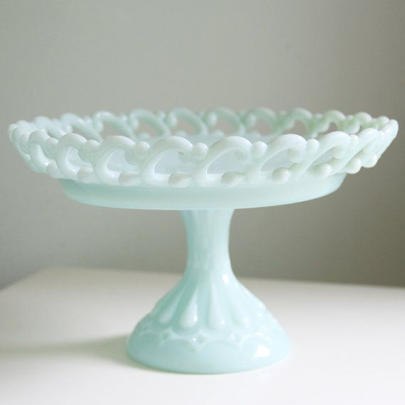 What a delicate piece of milk glass!! I am so digging the minty green color too!!