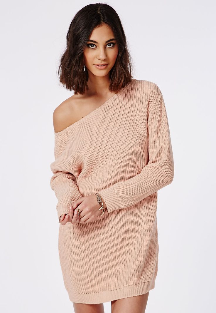 Missguided - Ayvan Off Shoulder Knitted Jumper Dress Nude