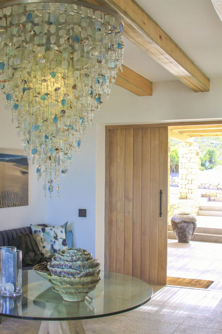 Ocean House, Morukuru, South Africa. Riaan Chambers chandelier in entrance. #OceanHouse #De Hoop #SouthAfrica #decor #design #Africa