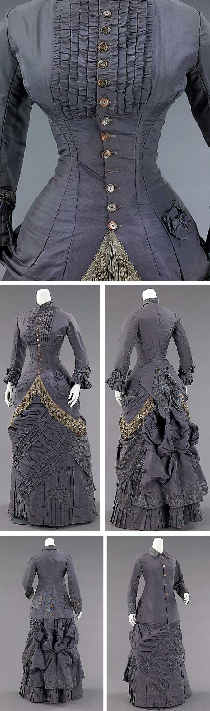 Afternoon ensemble, American, 1878-1882. Silk, abalone. Metropolitan Museum of Art.
