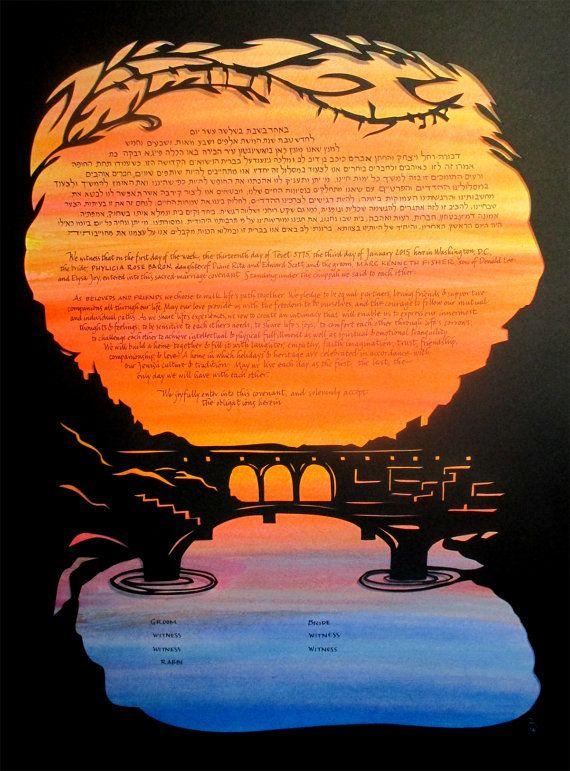 Ponte Vecchio Papercut Ketubah  Firenze Italy  Florence  by jerise