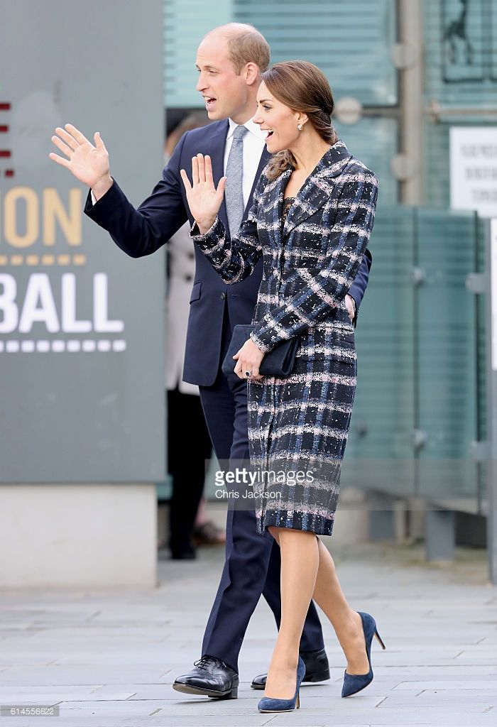 Prince William, Duke of Cambridge and Catherine, Duchess of Cambridge wave to wellwishers after touring the National Football Museum during their visit to Manchester on October 14, 2016 in Manchester, England.  (Photo by Chris Jackson/Getty Images)