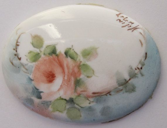 Hand Painted Floral Cabochon by frecklestone on Etsy