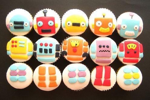robot cupcakes :D