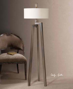 Mondovi #StandLamp. Hand forged metal finished in an antiqued plated brushed bronze with gold undertones. The round hardback drum is a white linen fabric. #lamp #LightsandLamps #homedecor #accentfurniture #artfurniture #CarolynKinder