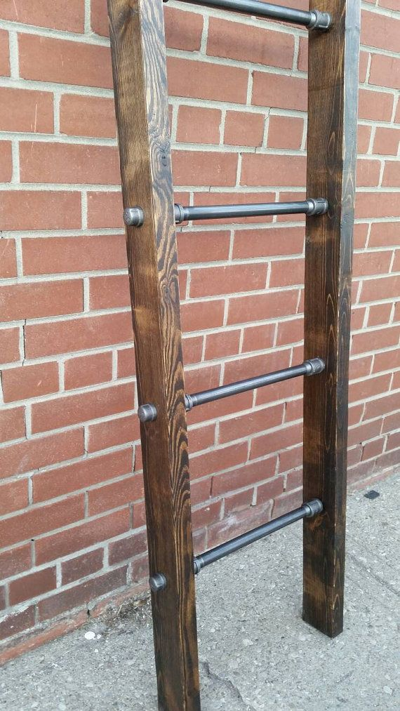 Rustic industrial pipe and wood blanket ladder  steel wood