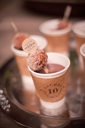 Coffee with a donut hole on the stirrer...such a cute bridal shower or morning after the wedding brunch