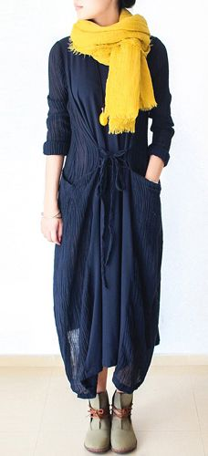 Navy fake two pieces pathwork linen cardigan with cotton dresses inside