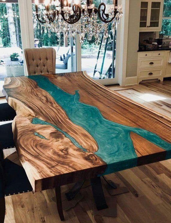 Custom Folding Live Edge Table Made Of Oak Wood Epoxy Table With Steel Legs Uv Resin Table Modern Dining River Table Loft Style